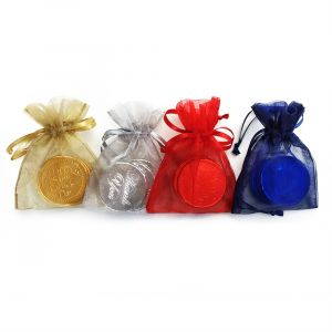 Custom chocolate coins in organza bag