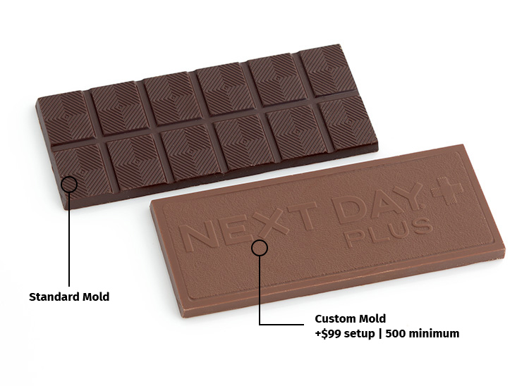 Custom molded 1.75oz chocolate bar