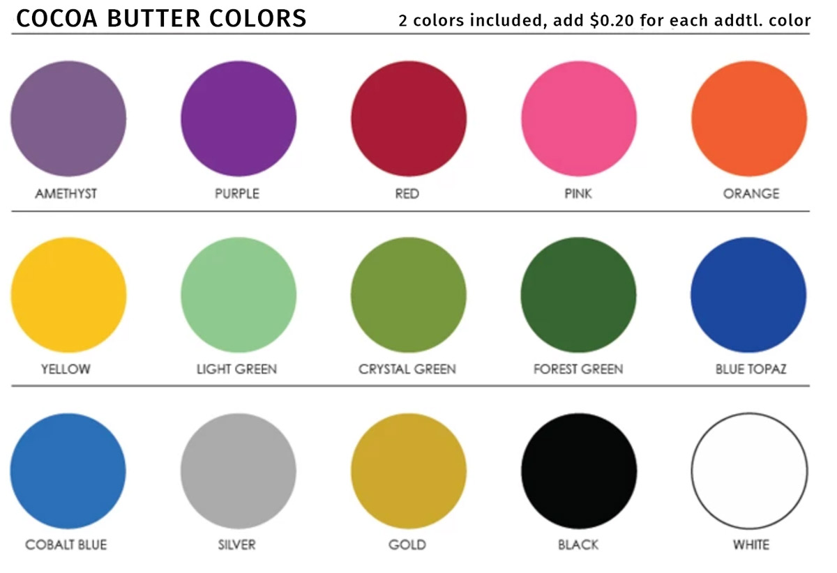 cocoa butter color options