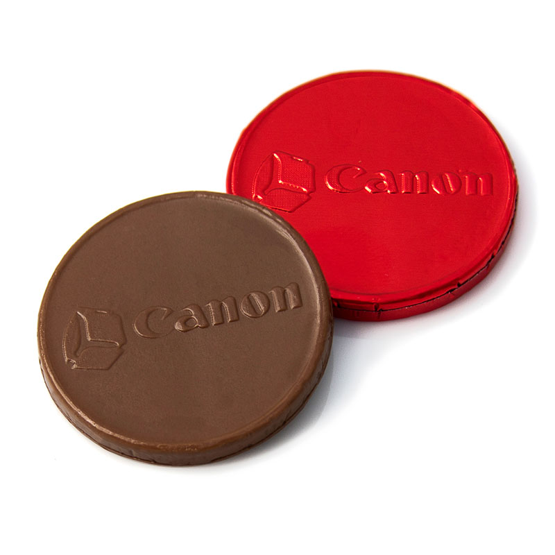 Logo on chocolate coin